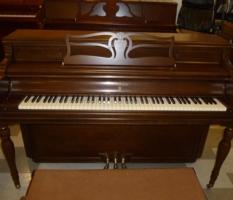Knabe console walnut piano with bench